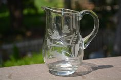 #Etched Crystal Creamer, Romania Crystal, Cream and Sugar, #Table setting, #Servi,  View more on the LINK: http://www.zeppy.io/product/gb/3/250915204/