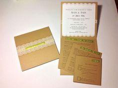 Diary of a Boho Bride – Kate and Andy, Entry 5: DIY Kraft Pocketfold Invitations