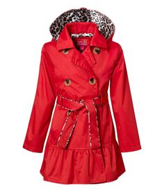 Take a look at this Pink Platinum & iXtreme Red Hooded Ruffle Trench Coat - Toddler & Girls today!