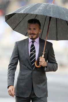 David Becham stubble with moustache beard look in #Suit #beard — Men's Fashion Blog - #TheUnstitchd