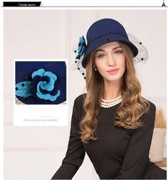 3dc0bd88152a3 Aliexpress.com   Buy Wool Elegant Woman Winter Cap Fedoras Ladies Bucket Hat  from Reliable fedora bucket hat suppliers on FS Official Store