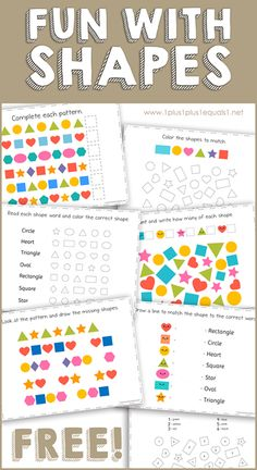 This FREE Fun with Shapes printable pack is great for kids who are learning shapes. Wonderful for Tot School, Preschool & Kindergarten! Learning Shapes, Kids Learning Activities, Learning Goals, Toddler Activities, Preschool At Home, Preschool Kindergarten, Fall Preschool, Preschool Ideas, Tot School