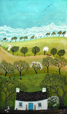 """Gwanwyn,"" which means 'Spring' in the Welsh language. Lovely image from the magnificent Valeriane Leblond. Art Populaire, Art Et Illustration, Painting Illustrations, Simple Illustration, Naive Art, Landscape Art, Painting & Drawing, Illustrators, Folk Art"
