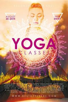Yoga Classes Free Poster Template for Yoga Lessons and Gym Fitness Free Psd Flyer Templates, Flyer Free, Brochure Template, Cool Poster Designs, Yoga Flyer, Free Yoga Classes, Yoga Logo, Yoga Lessons, Photoshop