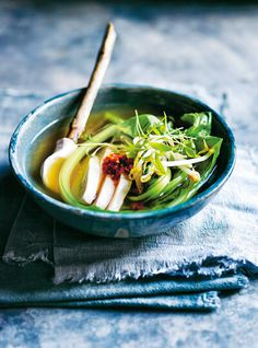 Four Kitchen Decorating Suggestions Which Can Be Cheap And Simple To Carry Out Fragrant With Lemongrass And Ginger This Chicken Soup Will Warm You Up. Ginger Chicken Soup, New Fruit, Rind, Lemon Grass, Fruits And Veggies, Chicken Recipes, Dessert Recipes, Stuffed Peppers, Meals