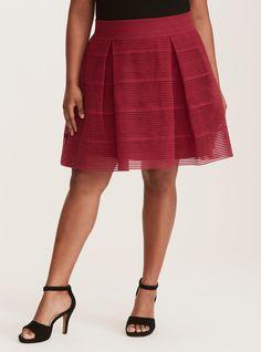 Striped Sheer Flared Skirt, VELVET ROSE