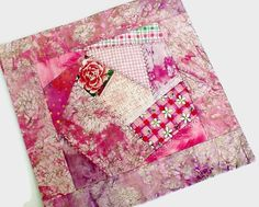 Pink Rose Crazy Mini Quilt - Floral Quilt Centerpiece - Housewarming Gift for Home - Breast Cancer Awareness - Handmade Coffee Table Topper