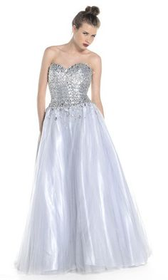 Full ball gown with masses of sparkly tulle petticoats, and fitted sparkle corset bodice, from Ruby Prom