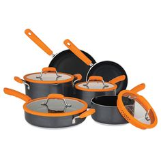 Chopped Nonstick Cookware Set with Silicone Strainer Lids in Orange N/A N/A - Cookware Set - Ideas of Cookware Set