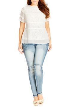cc6d34d6a2 City Chic Pintuck Lace Layer Top available at  Nordstrom Pin Tucks
