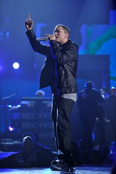 Eminem performs onstage during the 2010 BET Awards…