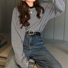 edgy outfits Buy Melon Juice Mock Two-Piece Striped Sweatshirt Girls Winter Fashion, Girl Fashion Style, Girls Fashion Clothes, Look Fashion, Fashion Edgy, Fashion Hair, Clothes Women, Fast Fashion, Asian Fashion