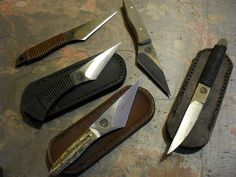 """Four Kiridashi knives and a """"pocket scapel"""". All made by Nighthaxan."""