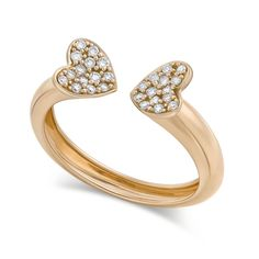 HUEB Small Rose Gold Heart Ring - With the 18K rose gold heart ring, two hearts covered in diamonds hug your finger in an artful representation of adoration. White diamonds effortlessly sparkle against the glossy gold setting, creating visual interest and texture that is so unique and eye-catching, you'll fall in love with this piece again and again.