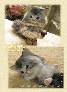 Needle felted cat by LeoRai