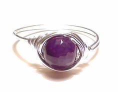 Gemstone Silver Wire Wrapped Ring Purple by munchkinsmirror