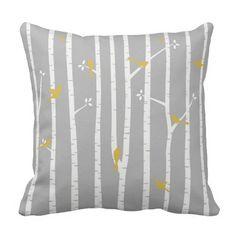 Birds in Birch Trees Grey White Yellow Throw Cushion