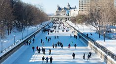 The world's largest skating rink at 4.8 miles long, Rideau Canal Skateway in Ottawa