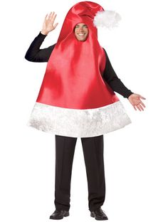 Santa Hat Costume. Don't want to fuss about with headwear, hats and accessories? Want an outfit that is minimal Christmas fuss and maximum Christmas cheer? Everyone raise their glasses to toast the Santa Hat Costume, it's easy to put on, brimming with festiveness and will make everyone HO HO HO!