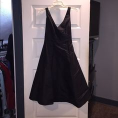 Black Cocktail Dress David's Bridal Black Taffeta Bridesmaid Dress.  Works nice as a dress for a wedding guest as well.  Worn once as a bridesmaid. Mint condition, no stains, smells or rips. David's Bridal Dresses
