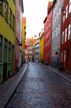 The colorful streets of the old part of Copenhagen. Trollbeads birth place.