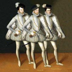 Montage représentant le roi Charles IX et ses frères, Henri duc d'Anjou (futur Henri III) et François duc d'Alençon, d'après un tableau de ce dernier daté de 1572 par François Clouet
