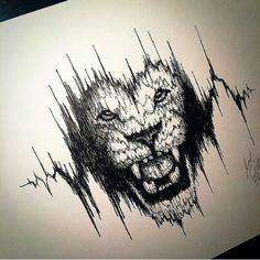 Tattoo. Lion. Heartbeat.