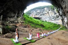 Yoga enthusiasts practice yoga at Yueyan Cave during a session organised by a yoga club in Daoxian, Hunan province, China, on September 11, 2016. # Reuters Photos of the Week: 9/10-9/16 - The Atlantic