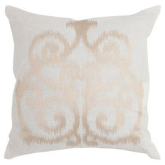 Linen throw pillow in champagne with an ikat damask motif. Made in India.  Product: Set of 2 pillowsConstruction Mat...