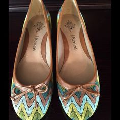 Worn Once J.Renee Pumps w/Leather Detailing Green, blue and brown chevron print pumps in excellent condition J. Renee Shoes Heels