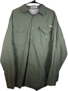 Columbia PFG LARGE Mens Fishing Shirt Army Green Long Sleeve Vented Mesh Cotton #Columbia #ButtonFront