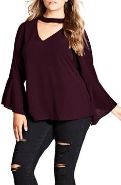 Free shipping and returns on City Chic Shadow Choker Shirt (Plus Size) at Nordstrom.com. A décolleté neckline highlighted with a choker detail and flouncy, flared bell cuffs take a stretch-knit top from simple to sensational.