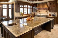Granite Kitchen Top has gradually become an indispensable requirement for antiquities and modern kitchen. Granite Kitchen Tops are the ideal surface choice for their kitchen tops. Types Of Kitchen Countertops, Granite Countertops Colors, Granite Kitchen, Soapstone Countertops, Countertop Materials, Kitchen Backsplash, Kitchen Island, Countertop Options, Custom Countertops