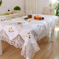 Hetaiyiyuan Continental ganchillo hechos a mano mantel manteles bordados mesa cubierta de tela mesa fuentes del partido