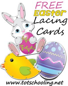 FREE printable Easter lacing cards for toddlers and preschoolers to practice fine motor skills, concentration, and hand-eye coordination. Easter Activities For Preschool, Holiday Activities, Toddler Preschool, Preschool Activities, Preschool Learning, Educational Activities, April Preschool, Spring Activities, Teaching