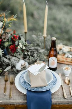 Rustic Blue Place Setting | photography by http://www.rebeccahollis.com