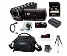 Sony HDR-PJ230/B 8GB Full HD Camcorder with Projector Bundle with Sony 16GB Memory Card + Sony Soft Carrying Case + Replacement Battery NP-FV50 + Accessory Kit | My Canon Digital Camera