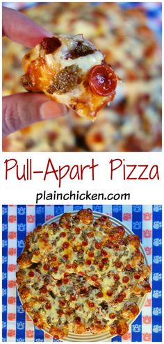 Pull-Apart Pizza Recipe - only 4 ingredients! Refrigerated pizza dough, sauce, cheese and your favorite toppings. The dough is cut into little bite size pieces and topped with the sauce, cheese and toppings.