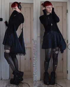 """shortcuttothestars: """" The weather was so nice today Edgy Outfits, Grunge Outfits, Pretty Outfits, Cute Outfits, Fashion Outfits, Unique Outfits, Fashion Ideas, Mori Fashion, Gothic Fashion"""