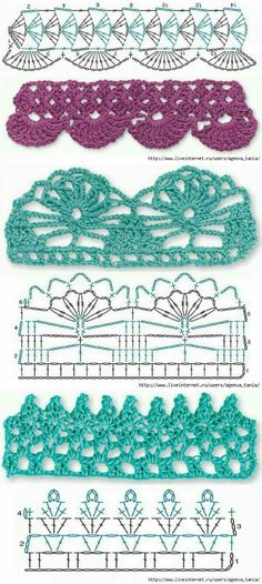 Crochet Borders crochet border pattern with sample pictures - Простая кайма крючком Crochet Border Patterns, Crochet Boarders, Crochet Lace Edging, Crochet Diagram, Crochet Chart, Crochet Designs, Crochet Flower, Filet Crochet, Easy Crochet Projects