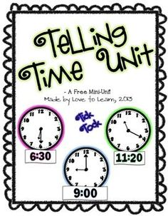 FREE Telling Time Math Unit - Updated with new graphics!