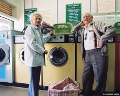 """Friends Edna and David go to the launderette once every three weeks. David said: """"I did have a washing machine at home until my wife died, I got rid of it, along with the fridge freezer and the cooker. I've got a good microwave though."""""""