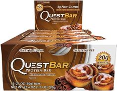 Quest Nutrition Protein Bar, Cinnamon Roll, 20g Protein, 2.12oz Bar, 12 Count  https://www.amazon.com/Quest-Nutrition-Protein-Cinnamon-2-12oz/dp/B006W1Z8SU/ref=as_li_ss_tl?ie=UTF8&qid=1473093812&sr=8-129&keywords=protein&linkCode=ll1&tag=pinterest08e0-20&linkId=157cced822245ee4dd3b5a6022134c31