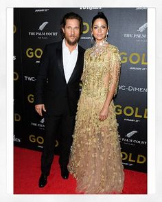 Gold. X The stunning @iamcamilaalves in #fw16marchesa and hubby #matthewmcconaughey at tonight's #gold premiere! Styled by @anitapatrickson. #marchesajewelry #camilaalves @georginachapmanmarchesa @kerencraigmarchesa