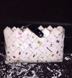 EcoFashion COIN PURSE Multicolor White & Confetti Recycled, Hand Crafted, Just 1 #ad