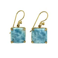 Blue Larimar Earrings in 18k Gold   These earrings are made from the highest quality natural Larimar and set in 18k gold for an unforgettable contrast. Make them yours in time for the holidays. get your pair now at puebloskeep.com