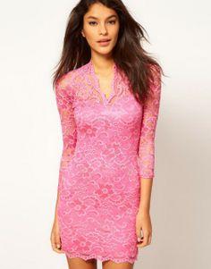 Mini Elegant Damen Lace Spitzen kleid Party Abendkleid Stretch V-Ausschnitt Spitzenkleid Dunkelrosa
