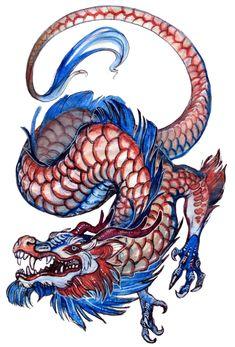 Red blue dragon by grzanka on DeviantArt Blue Dragon Tattoo, Small Dragon Tattoos, Japanese Dragon Tattoos, Dragon Tattoo Designs, Dragon Fighter, Dragon Bleu, Fantasy Tattoos, Dragon Sketch, Dragon Artwork