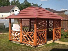 Wooden Summer House, Patio, Backyard, Gazebo Pergola, Deck Design, Cabana, Outdoor Structures, Construction, Gardens