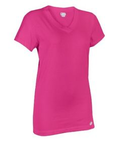 This Dri-Power 360™ v-neck tee is lightweight and made from a blend of cotton and rayon (derived from jute plant fibers). Russell's just $17.99 and 11 color options, ladies!
